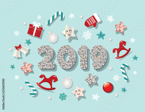 happy new year 2019 template with cute decorative elements for banners posters