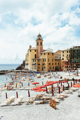 People on the Beach, Exclusive Beach, Camogli Fishing Village, Genoa, Liguria, Italian Riviera, Levante, Italy, Europe
