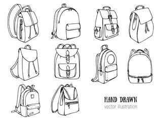 Hand drawn Vector Set of Doodle Backpacks. Cartoon Casual Backpack, cool backpack sketch . Vector illustration. Back to school. Schoolbag decorative element .