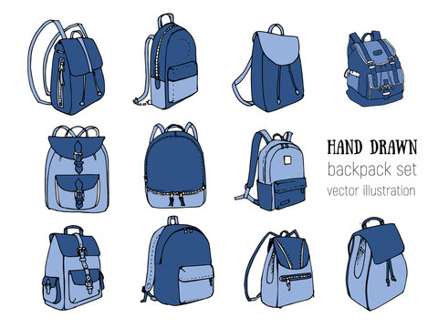 Colored Hand drawn Vector Set of Doodle Backpacks. Cartoon Casual Backpack, cool backpack sketch. Vector illustration. Back to school. Cute Schoolbag decorative element.