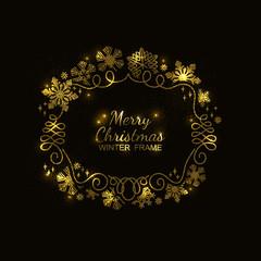 Gold glitter snowflake frame, festive decoration on black background, Christmas design for invitation, greeting card or postcard. Vector illustration, merry xmas flake framework