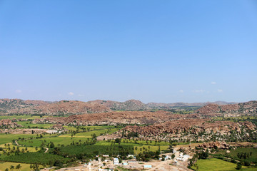 The landscape scenery of Hampi, viewed from Anjana mountain or Hanuman Temple