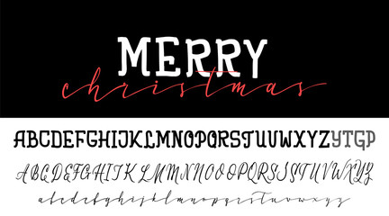 Handwritten calligraphy elegant font. and Congratulations Happy New Year and Merry Christmas, calligraphy for cards, posters and covers