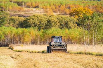 Autumn field with a red tractor that mows dry grass, Russia