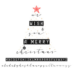 We wish you a merry christmas. Handwritten calligraphy elegant font. and Congratulations Happy New Year and Merry Christmas, calligraphy for cards, posters and covers
