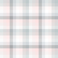 Plaid pattern in pastel grey, pink and white. Seamless fabric texture.