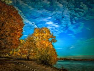 Painted image of a picturesque autumn landscape. Illustration