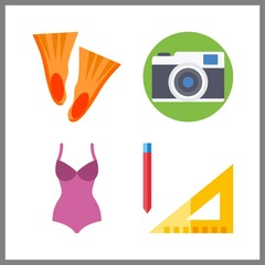 4 lifestyle icon. Vector illustration lifestyle set. swimsuit and measuring icons for lifestyle works