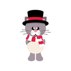 winter cartoon cute cat in hat with scarf