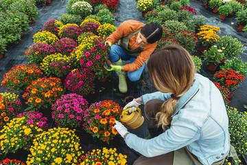 Preparing flowers for sale