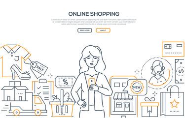 Online shopping - modern line design style web banner