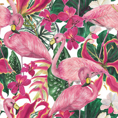 Watercolor painting seamless pattern with flamingo birds and tropical leaves