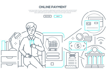 Online payment - modern line design style web banner
