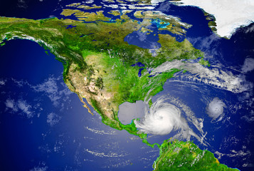 tropical hurricane approaching the USA.Elements of this image are furnished by NASA..