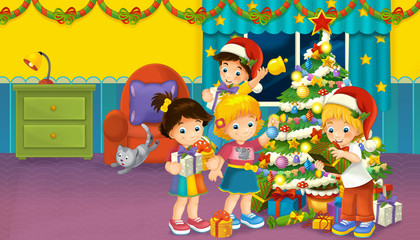 cartoon scene with boys and girls in a room full of presents and christmas tree - illustration for children