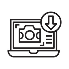 photo sell online upload line icon