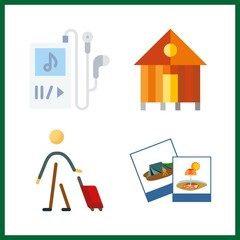 lifestyle icon. music player and tourist vector icons in lifestyle set. Use this illustration for lifestyle works.