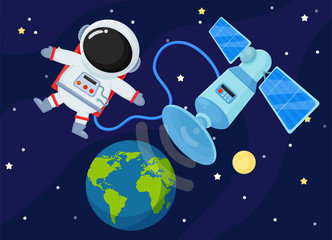 Space Station Send the signal back to Earth. Illustration Vector EPS10.