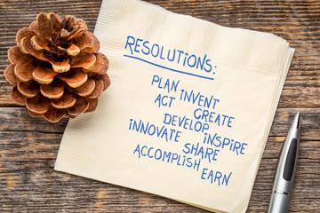 Creative resolutions - handwriting on napkin