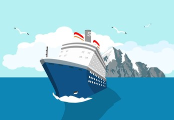 Blue cruise liner swimming in the ocean, tropical islands vector illustration