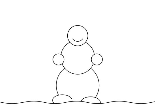 Snowman outline, Black and white vector minimalistic linear illustration