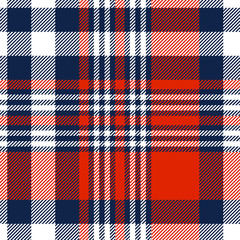 Plaid pattern in red, white and blue. Seamless fabric texture.