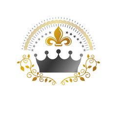 Royal Crown emblem. Heraldic Coat of Arms decorative logo isolated vector illustration. Ornate logotype on white background.