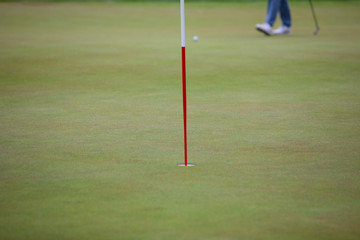 Walking legs on putting green with ball.