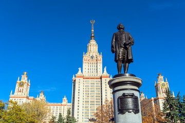 Monument to the famous Russian scientist Mikhail Lomonosov (1953) in front of the main building of Moscow State University (MSU)