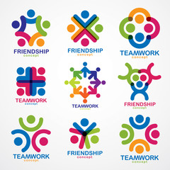 Teamwork and friendship concepts created with simple geometric elements as a people crew. Vector icons or logos set. Unity and collaboration ideas, dream team of business people colorful designs.
