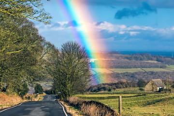 rainbow in bradfield, Yorkshire, uk