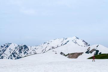 Walking trail on snow mountain of Japan alps at Tateyama Kurobe Alpine Route, Toyama - Japan Wall mural