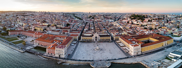 Aerial drone photo of the Comercio Square (Praça do Comércio) of Lisbon, Portugal.  The central plaza of the city Wall mural