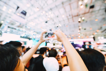 Royalty high quality free stock photo of abstract blur and defocused of Exhibitors are taking photos