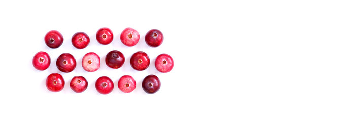Arranged red ripe cranberries isolated on white. Macro view ripe forest berries, cut out background, copy space.
