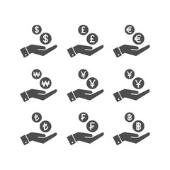Human hand and money dropping coins. Savings and payment concept vector glyph icons.