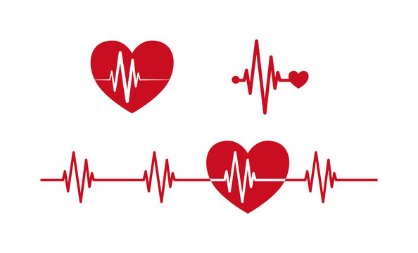Heartbeat concept icons. Cardiogram ecg  line with heart symbol red vector icon set.