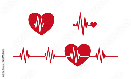 Heartbeat concept icons  Cardiogram ecg line with heart