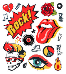 Punk Patch Vector Illustration Collection Poster