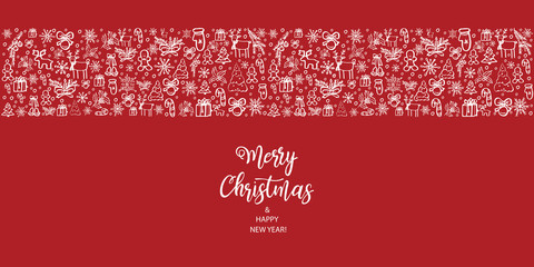 Merry Christmas and Happy New Year. Hand Drawn. Vector illustration.