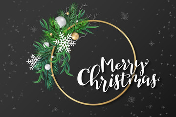 Vector illustration of christmas greeting card template with hand lettering label - merry christmas - with realistic spruce and eucalyptus branches, beads, and snowflakes