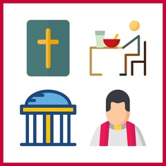 holy icon. bible and temple vector icons in holy set. Use this illustration for holy works.