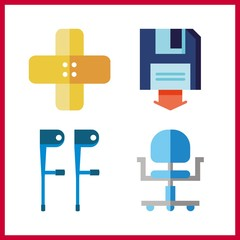 4 recovery icon. Vector illustration recovery set. band aid and wheel chair icons for recovery works