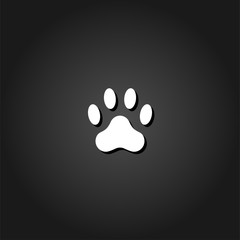 Paw icon flat. Simple White pictogram on black background with shadow. Vector illustration symbol