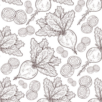 Turnip. Fruit, root, leaves. Background, wallpaper, seamless, texture. Sketch.