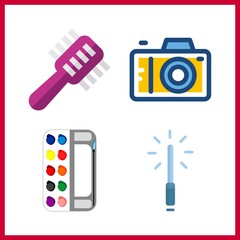 4 image icon. Vector illustration image set. watercolor and photo camera icons for image works