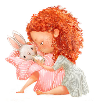 cute little girl with basket of hares