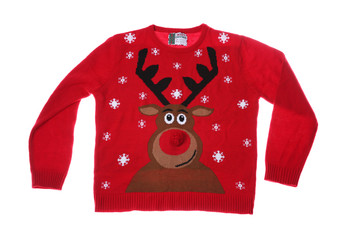52274b3e2fb53 Warm Christmas sweater on white background. Seasonal clothing