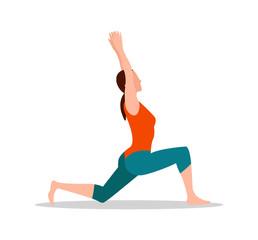 Crescenet Lunge Pose of Yoga Vector Illustration