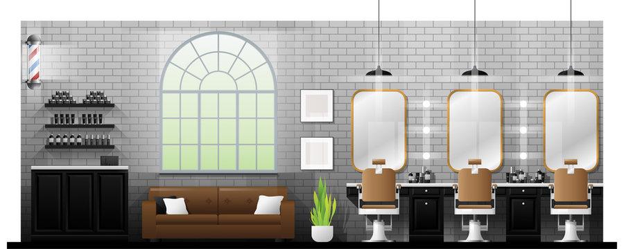 Interior scene of vintage barber shop , vector , illustration